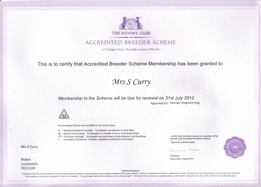 kc accredited breeder scheme certificate 2011