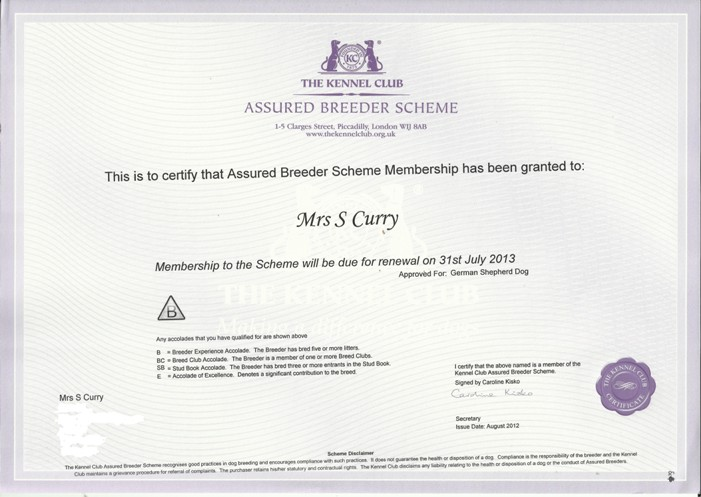 kc assured breeder scheme certificate 2012