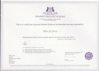 kc assured breeder certificate 2013