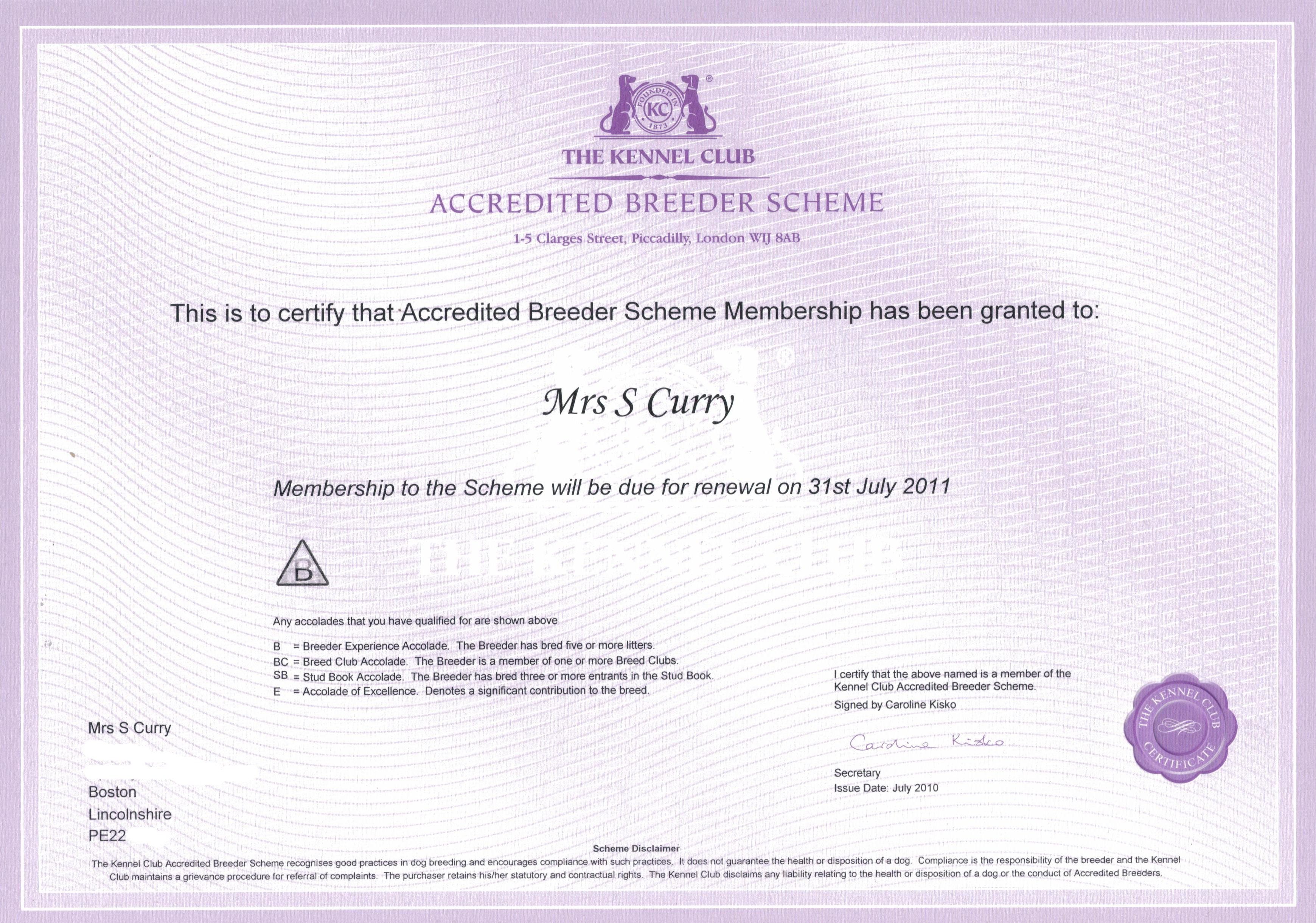 kc accredited breeder scheme certificate